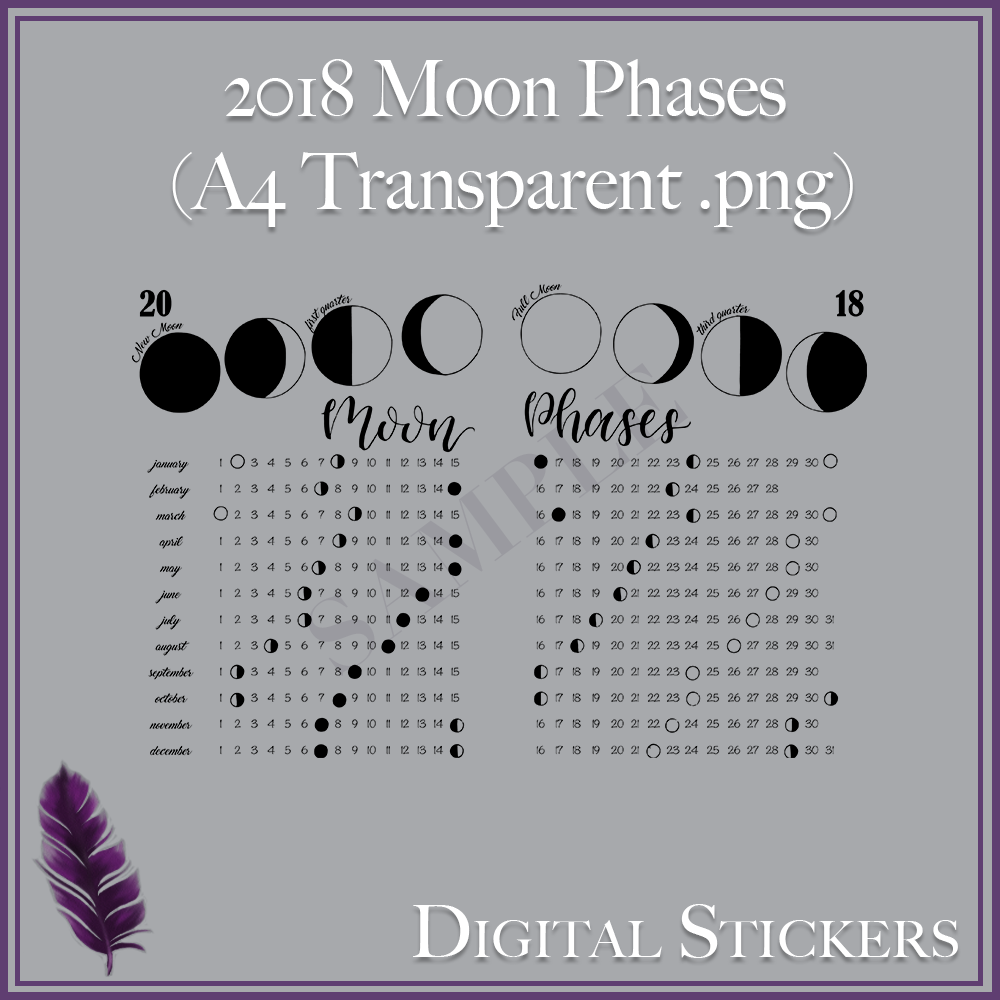 2018 Moon Phases Digital Sticker - A4