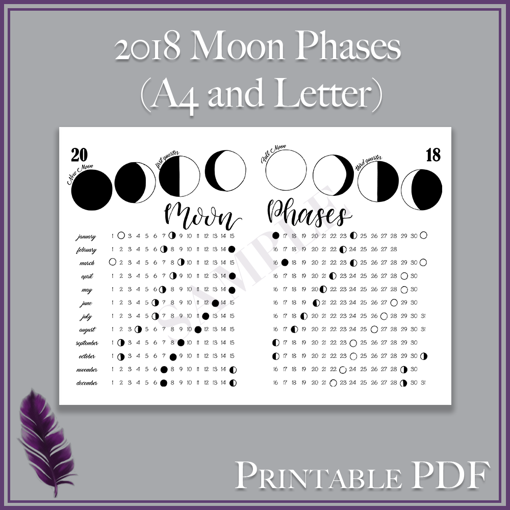 image relating to Printable Moon Phases identified as 2018 Moon Stages - Printable PDF - A4 and Letter