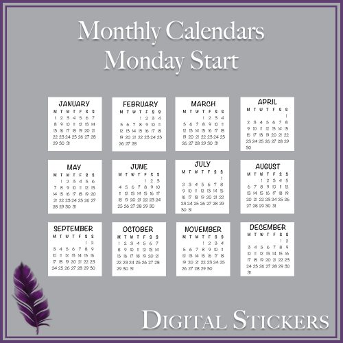 2018 Moon Phases Digital Sticker – A4 – Eclectic Scribbles
