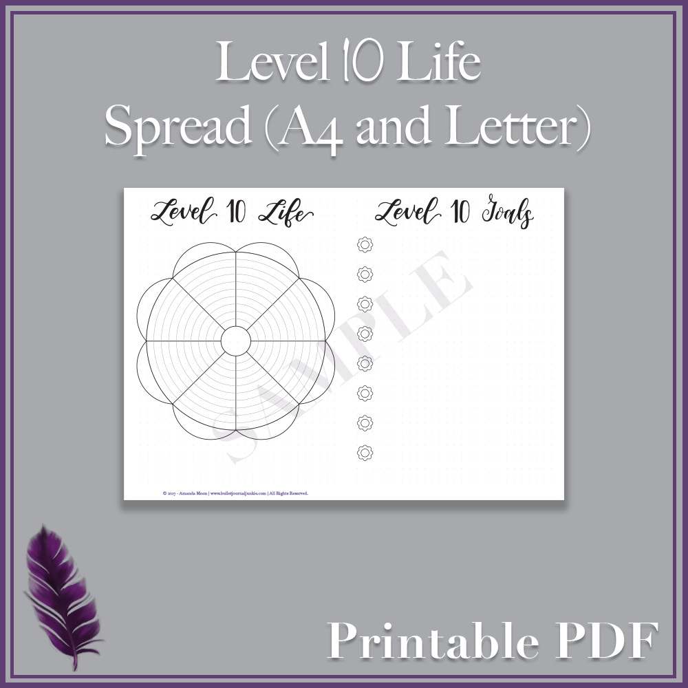 graphic about Level 10 Life Printable named Place 10 Everyday living Distribute - A4 and Letter PDF